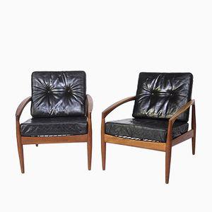 Easy Chairs Paper Knife en Teck et en Cuir par Kai Kristiansen pour Magnus Olesen, 1955, Set de 2, Danemark