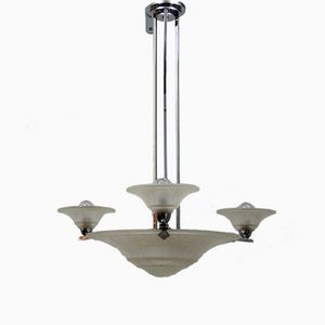 Vintage Art Decó Ceiling Lamp in Chrome and Pressed Glass