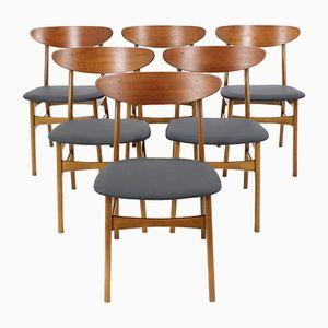 Dänische Vintage Teakholz und Leder Esszimmerstühle von Farstrup. 6er Set