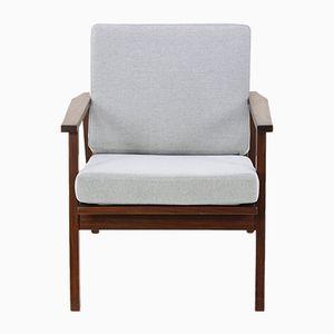 Danish Teak Armchair with Grey Fabric, 1960s