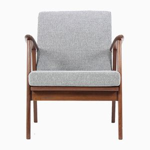 Danish Teak Armchair with Gray Fabric, 1960s