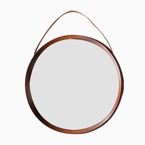 Round Teak Mirror by Uno & Östen Kristiansson for Luxus Vittsjö, 1960