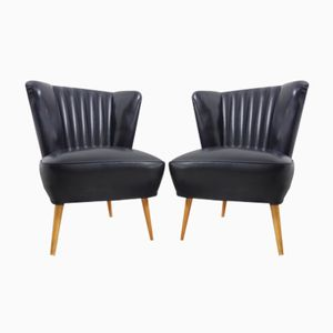 Vintage Cocktail Chairs in Black Skai, Set of 2