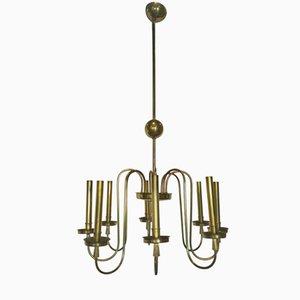 Italian 8 Light Chandelier in Brass, 1950s