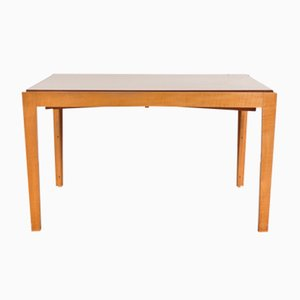 Ausziehbarer Esstisch aus Birke mit Weiß Laminierter Tischplatte, 1950er