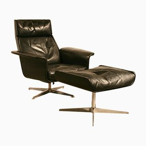 Mid-Century Leather Lounge Chair and Ottoman by Hans Kaufeld, 1960s