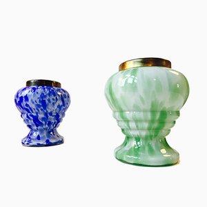Vasi in vetro e con rete in ottone di Ruckl, Repubblica Ceca, set di 2