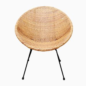 Round Rattan Chair, 1950s