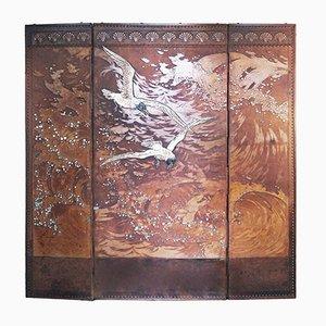 Dreiteiliger Französischer Antiker Leder Raumteiler