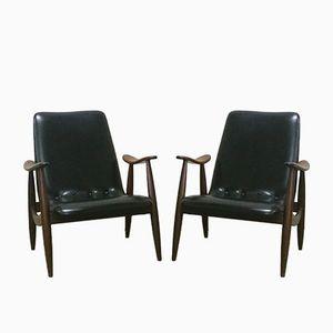 Easy Chairs Mid-Century par Louis van Teeffelen pour WeBe, Set de 2