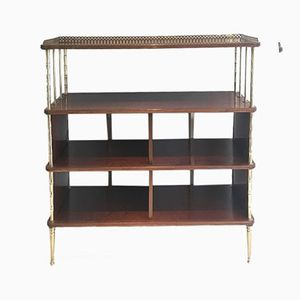 Birch and Brass Wall Unit from Maison Bagués, 1940s