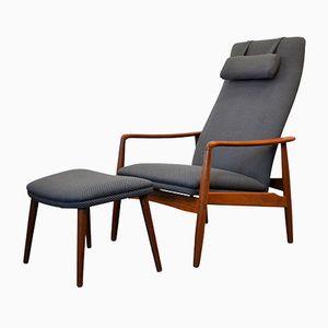 Fauteuil Lounge Mid-Century en Teck et Repose-Pied par Søren Ladefoged pour SL Møbler