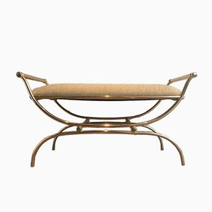 Neoclassical Style Gilded Metal Bench, 1960s