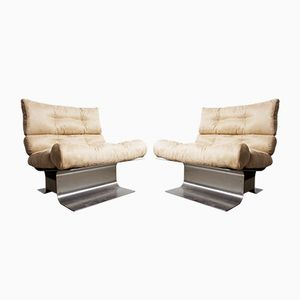 Stainless Steel & Suede Lounge Chairs by Francois Monnet for Kappa, 1972, Set of 2
