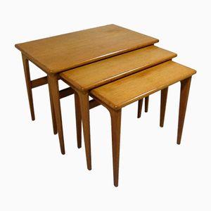 Danish Oak Nesting Tables from VM Mobler, Set of 3