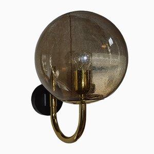Vintage Smoked Glass Globe Sconce, 1969