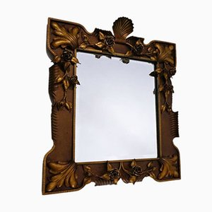 Neoclassical Italian Gilded Floral Mirror, 1940s