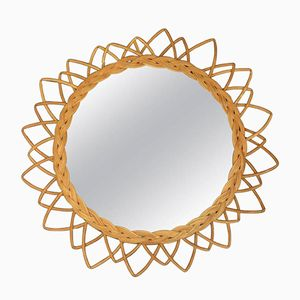 Vintage Mirror with Wicker Frame, 1960s