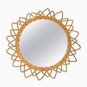 Vintage Spiegel mit Korbgeflecht Rahmen, 1960er