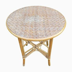 Tavolo vintage in vimini, anni '60