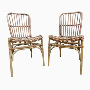Vintage Wicker Chairs by Audoux Minet, Set of 2