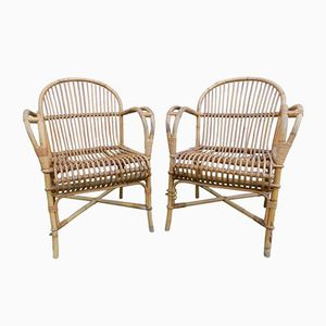 Mid-Century Wicker Chairs by Audoux Minet, Set of 2