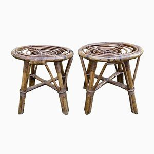 Wicker Stools by Adrien Audoux and Frida Minet, 1960s, Set of 2