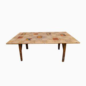 Tavolo da giardino in vimini di Adrien Audoux & Frida Minet, anni '60