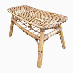 Wicker Coffee Table by Adrien Audoux and Frida Minet, 1960s