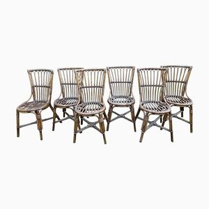 Mid-Century Wicker Chairs by Audoux Minet, 1970s, Set of 6