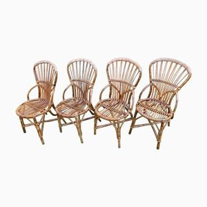 Wicker Chairs by Adrien Audoux and Frida Minet, 1960s, Set of 4