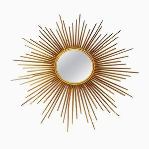 Metal Sunburst Mirror from Chaty Vallauris, 1960s