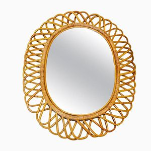 Mid-Century French Wicker Mirror, 1960s