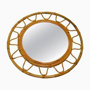 Runder Französischer Spiegel mit Korbgeflecht-Rahmen, 1960er