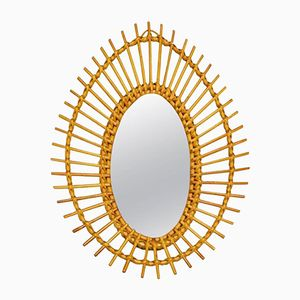 Vintage French Egg-Shaped Wicker Mirror, 1960s