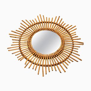 Mid-Century French Wicker Sunburst Mirror, 1960s
