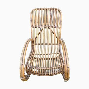 Wicker Rocking Chair by Audoux Minet, 1960s