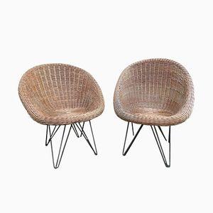 Korbgeflecht Sessel, 1960er, 2er Set