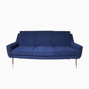 Italian Sofa in Blue Velvet, 1960s