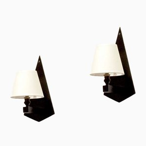 Constructivist Wall Sconces in Black Wood & Glass, Set of 2, 1930s