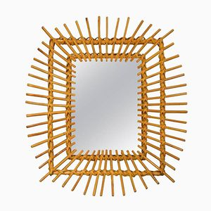 French Rectangular Wicker Mirror, 1960s