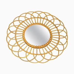 French Mirror with Wicker Frame, 1960s