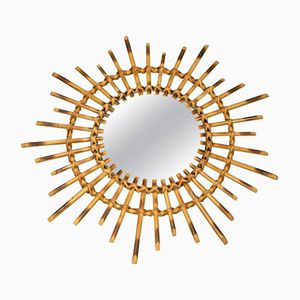 Vintage French Wicker Mirror, 1960s