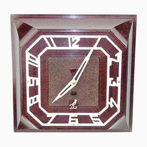 Horloge Murale Carrée en Bakélite de JAZ, 1935