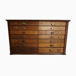 Oak Apothecary Bank of Drawers, 1930s