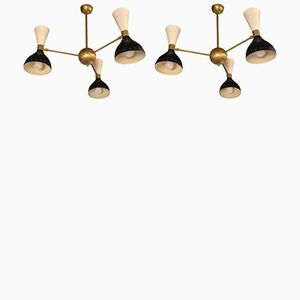 Vintage Ceiling Lights with Three Diabolo Lampshades, Set of 2