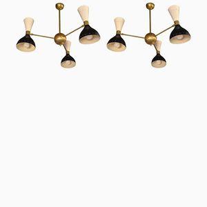 Vintage Deckenlampe mit Drei Diabolo Lampenschirmen, 2er Set
