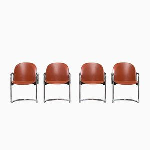 Leather Dialogo Chairs by Tobia Scarpa and Afra Scarpa, 1974, Set of 4