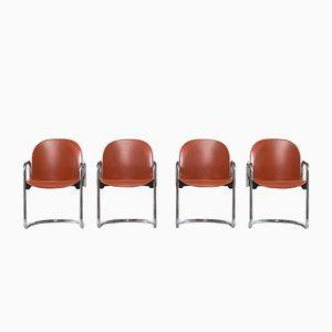 Leather Dialogo Stühle von Tobia Scarpa & Afra Scarpa, 1974, 4er Set