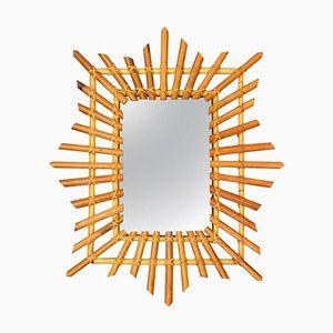 Italian Rectangular Wicker Mirror, 1960s